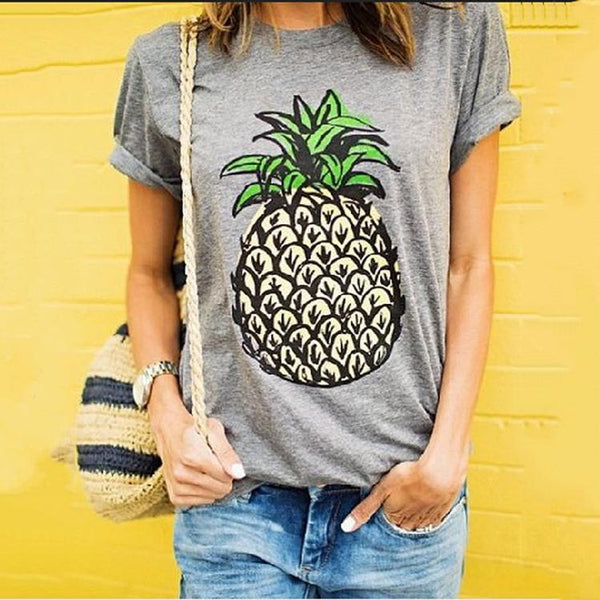 Casual Round Collar Pineapple Printing Short Sleeve Shirt