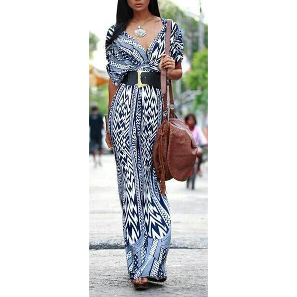 Bohemian Geometrical Printed V Neck Maxi Dress