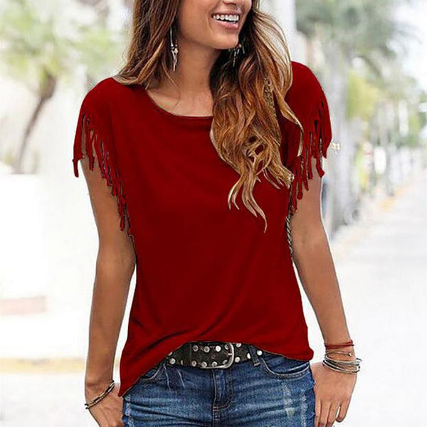 Casual Round Collar Pure Color Shirt