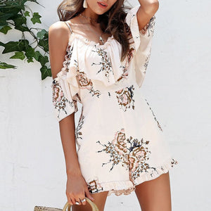 Elegant Floral Print Vacation Rompers
