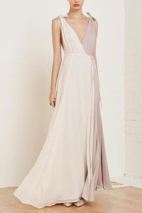 Fashion V Collar Split Joint Chiffon Maxi Dress