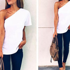 Sexy Oblique Shoulder Stitching Short-Sleeved T-Shirt