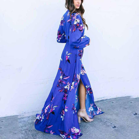 Fashion V Collar Blue Floral Printed Maxi Dress