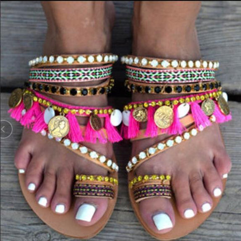 Bohemian Beaded Copper Handmade Sandals