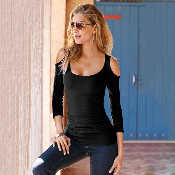 Sexy Off-The-Shoulder Long-Sleeved Slim T-Shirt