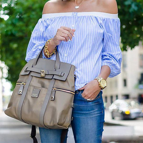 Sexy Blue And White Striped Off-Shoulder Shirt
