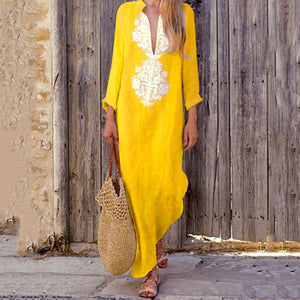 Fashionable Cotton/Line Casual V-Neck Yellow Shift Dress
