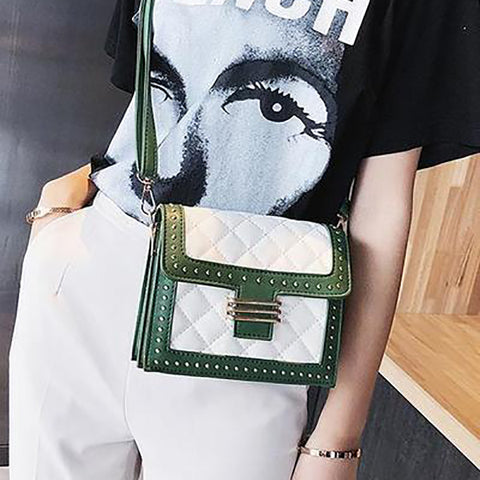 Fashion Rivet Embroidery Thread Color Block One Shoulder Square Bag