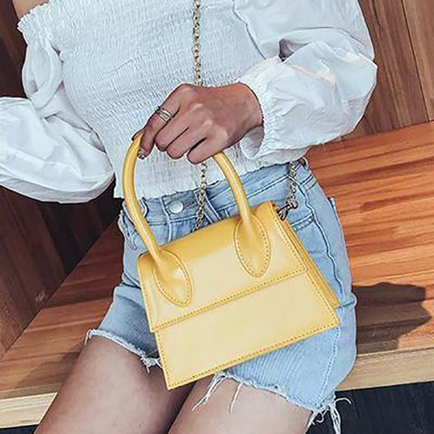 Fashion Plain One Shoulder Chain Hand Bag