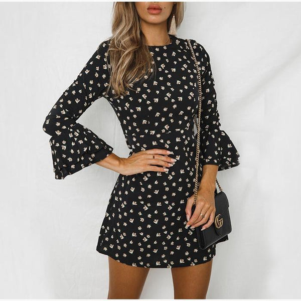 Polka Dot Printed Flare Sleeve Long Sleeve  Mini Dress