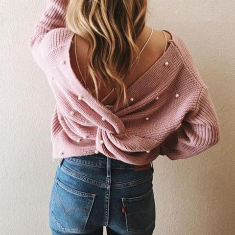 Loose Backless Irregular Cross Pearl Knit Sweater