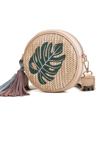 Fashion Straw Embroider Fringe One Shoulder Bag