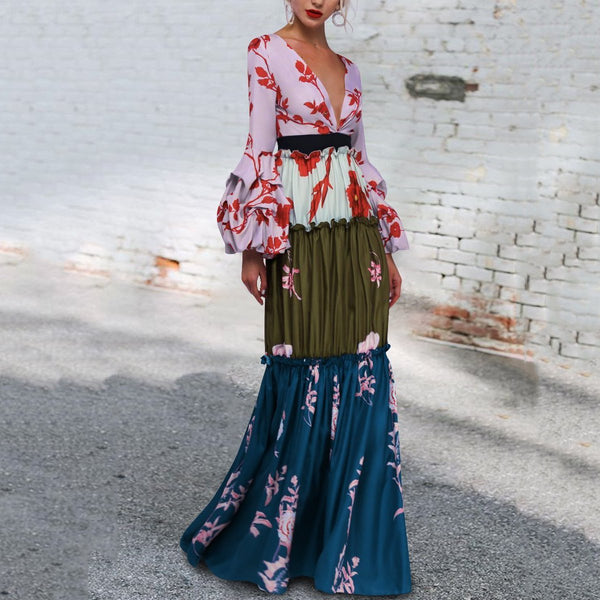 Sexy Deep V Collar Floral Printed Split Joint Maxi Dress