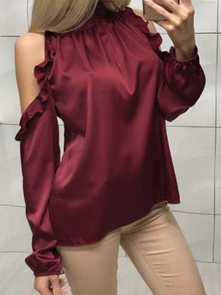 Stand-Up Off-The-Shoulder Long Sleeve Shirt