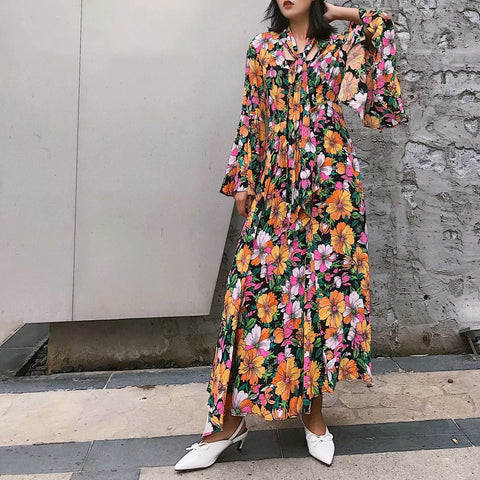 Sexy Floral Scarf Ruffled Long Sleeve Vacation Maxi Dress