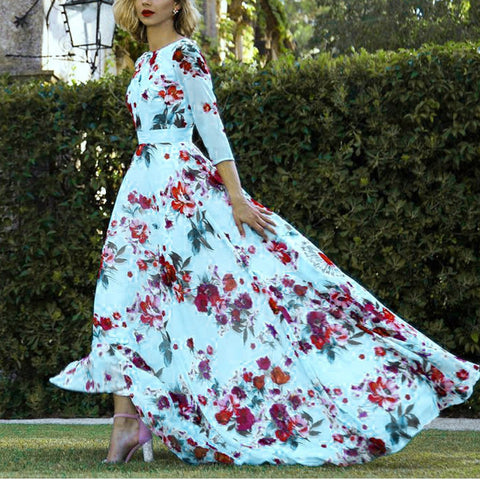 Elegant Floral Maxi Vacation Dress
