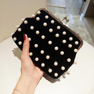 Fashion Pearl Buckle Small Party Hand Bag