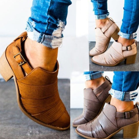 Pointed Thick With Belt Buckle Martin Bootie