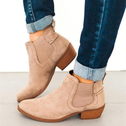 Fashion Round Toe Suede Ankle Chunky Bootie