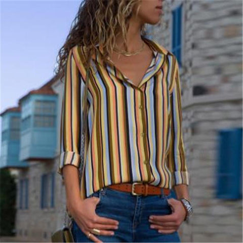 Fashion Button Colorful Stripe Shirt
