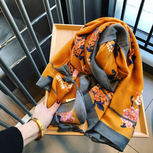 Bohemia Vacation Fashion Rectangle Floral Cape Scarf