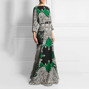 Round-Necked Long-Sleeved Vintage Printed Vacation Maxi Dress