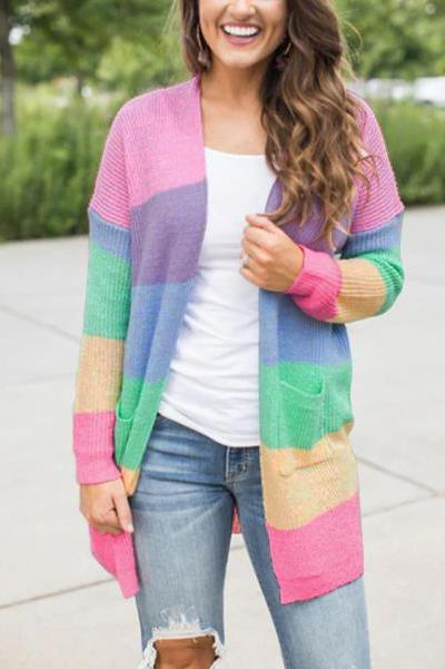 Chic Casual Loose Rainbow Thermal Long Sleeve Cardigan