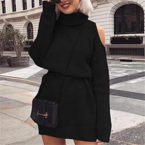 Sexy High Collar Off Shoulder Plain Shift Dress
