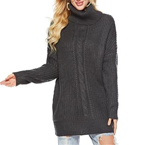 Fashion High Collar Loose Plain Knit Long Sweater