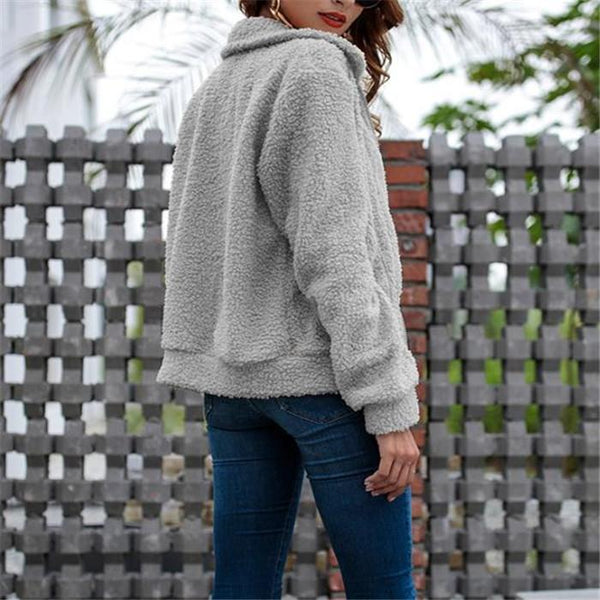 Chic Casual Woolen Thermal Zipper Long Sleeve Cardigan