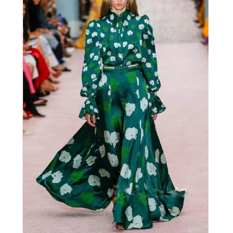 Green Vintage Floral   Printed Fashion Maxi Dress