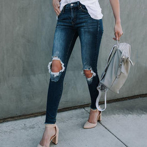 Slim Fit Pencil Ripped Denim Pants