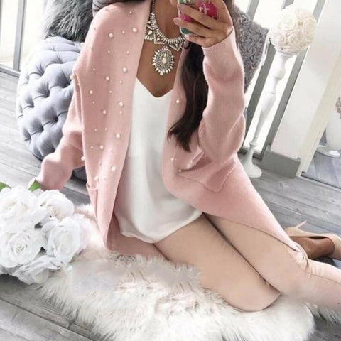 Fashion Plain Loose Knit Pearl Long Cardigan