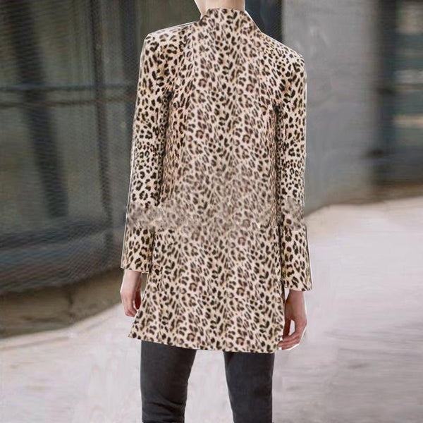 Elegant Individual Fashion Slim Leopard Print V Collar Longs Sleeve Suit Outerwear