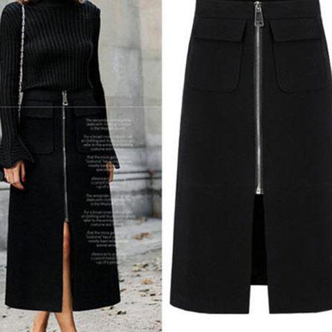 Fashion Plain Slim Zipper Leather Skirt