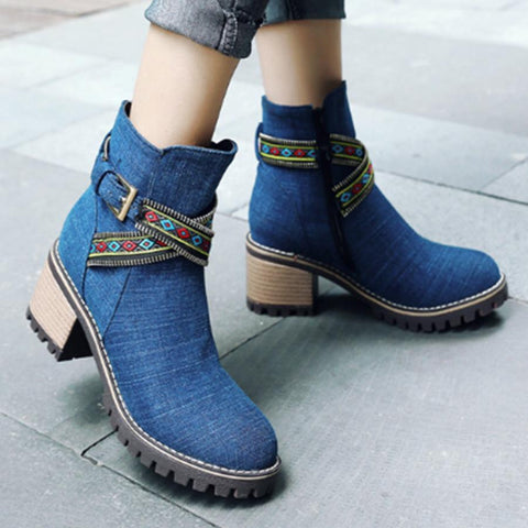 Plain  High Heeled  Round Toe  Casual Outdoor  Short High Heels Boots