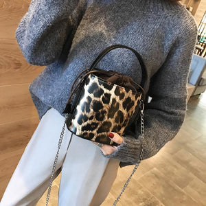 Lady Casual Fashion Leopard Print Leather Bucket One Shoulder Bag