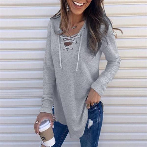 Casual Sweet Fashion Slim Plain Lace-Up Bust Long Sleeve Top