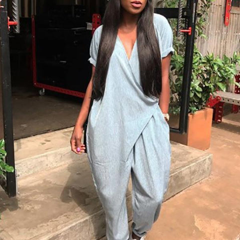Fashionable Loose V-Neck   Jumpsuit