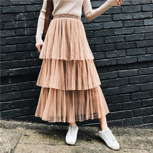 Mesh Pleated High Waist Skirt