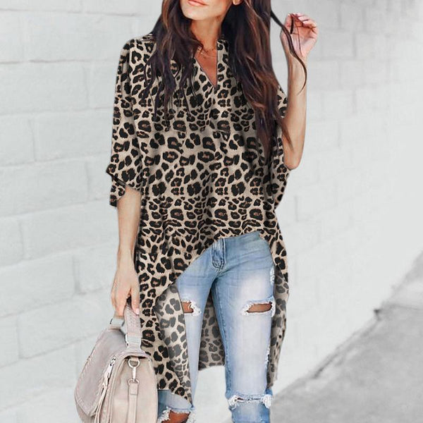 Chic V-Collar   Irregular Leopard Print Top