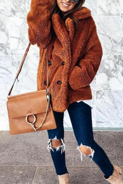 Sweet Stylish Casual Woolen Thermal Loose Wide Lapel Long Sleeve Coat