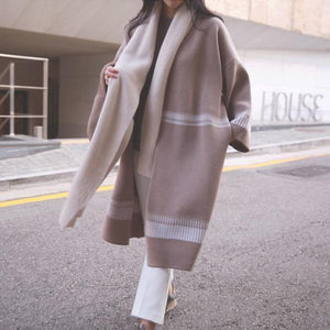 Elegant Fashion Casual Loose Strip Long Sleeve Coat Long Cardigan