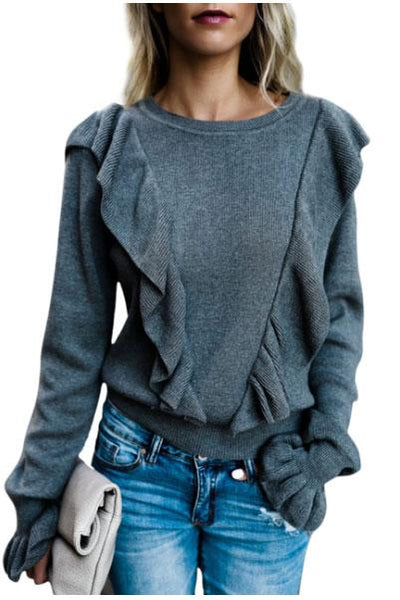 Fashion Round Collar Plain Flouncing Sweater