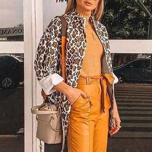 Fashion Lapel Collar Leopard Printed Jacket Coat