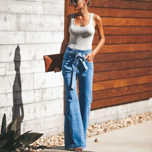 Fashion High Waist Plain Wide Leg Jeans Pants