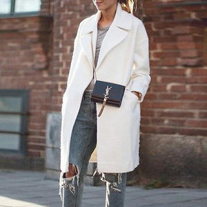 Fashion Thick Lapel Mid-Length Woolen Coat
