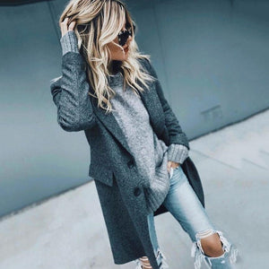 Fashion Cool Lapel Collar Plain Packets Long Coat