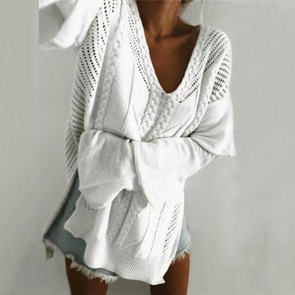 Casual Sweet Fashion Loose Solid Color Hollow Out V Collar Ruffled Long Sleeve Sweater