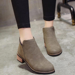 Fashion Wooden Bottom Frosted Ankle Boots